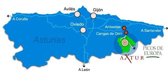 Situación de Axtur en Asturias